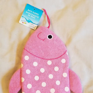 4/$15 NWT Pink Fish Shaped Bath Puppet Washcloth
